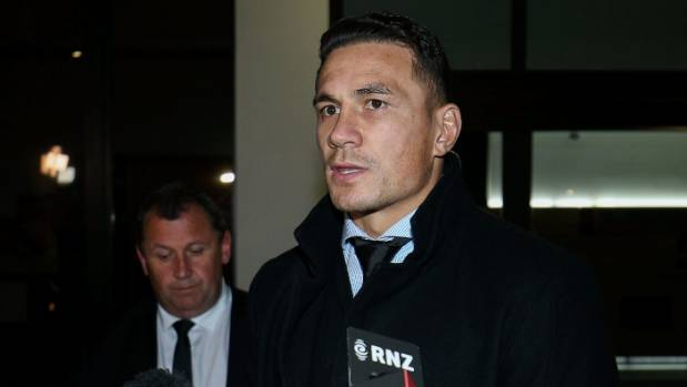Sonny Bill Williams faces media after being banned for four weeks.