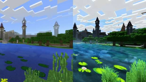 A side-by-side comparison of how Minecraft looks now, and how it will appear once the new graphics pack is installed.