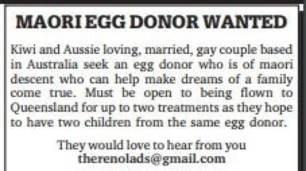 A copy of the advertisement married couple, Baden and Nelson Marino-Hall, posted in The Dominion Post last week asking ...