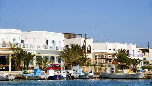 The beautiful classic port harbour of Antiparos island in the Cyclades, Greece.