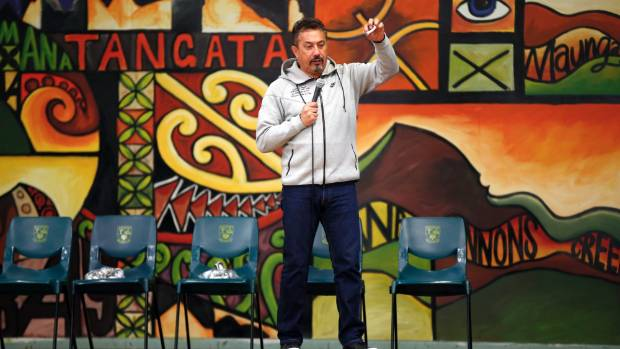 Mike King talks to students during a suicide awareness day at Mana College in Porirua.