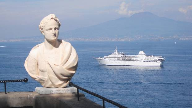 Experience spectacular views as you cruise past Mt Vesuvius on a Voyages to Antiquity cruise.