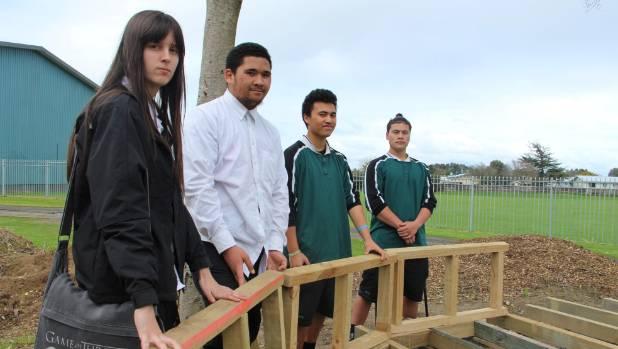 Some of the Ngaruawahia High School Build Ability team members Tammy Tripp, left, Stevie Simons, Atama Nepia and Samuel ...