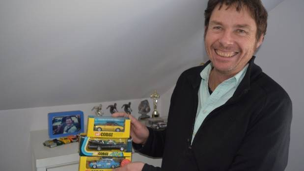 Heycoop with his favourite Corgi matchbox cars. He's on the search for more.