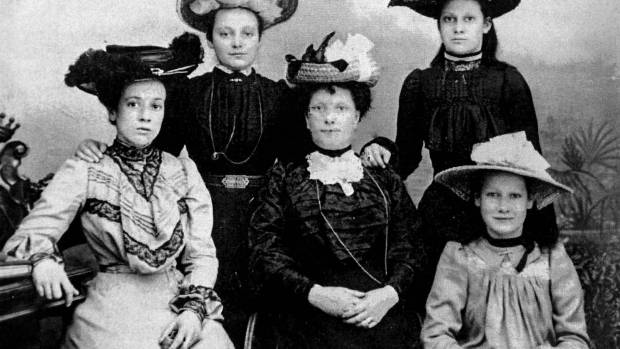 Hill ladies, taken about 1903. Back row, from left, Clarisse (Clarry) Hill and Victoria (Vera) Hill. Front row from ...