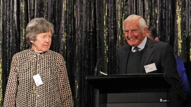 Hawke's Bay retired farmers Robin and Tony Parker accept the Beef + Lamb New Zealand Individual or Business making a ...