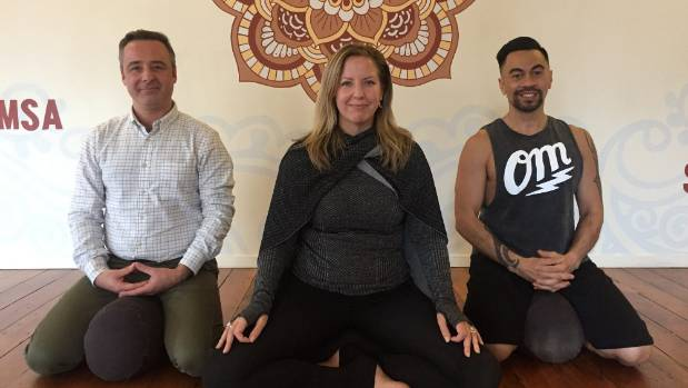 Power Living Wellington has seen an increase in 'corporate yoga and meditation'. From left: dedicated meditator Neil ...
