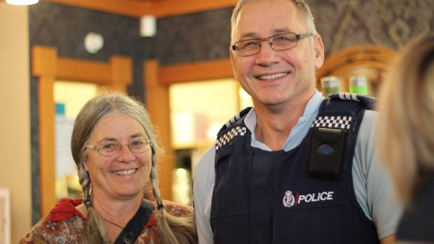 Family Safety Services facilitator Rosalie Steward with Sergeant Tony Mumford.