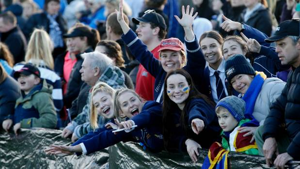 Pictured from left are rugby fans Kaitlin Morland, Olivia Birch, Millie Hulme (hat) Megan Robertson, Maddy Houston and ...