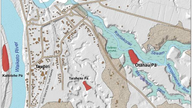 Map of Otahau Pa and area, north of Hamilton.