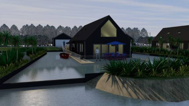 Design concept for a demonstration floating house on the Avon River in Christchurch's red zone.
