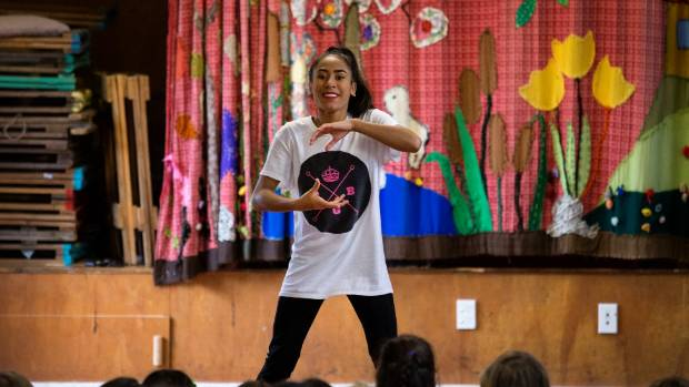Briannah Whakatau, 13, toured New Plymouth schools earlier this month with the Bubblegum Dance Crew.
