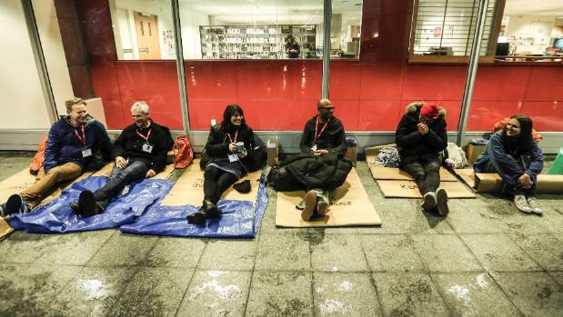 The coffee industry was represented at the sleep out by (from left) Tom Handiside, Henry Rylev, Jessica Godfrey, James ...