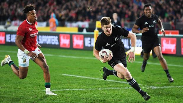 All Blacks fullback Jordie Barrett scores a try against the Lions on Saturday.