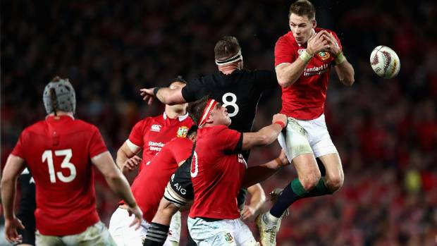 Lions fullback Liam Williams attempts to catch the ball during the third test against the All Blacks in Auckland.