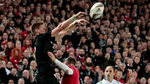 Jordie Barrett had a hand in the All Blacks first try after he tapped down a kick from his brother Beauden to assist