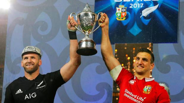 Kieran Read and Sam Warburton share the spoils after the test series was drawn.