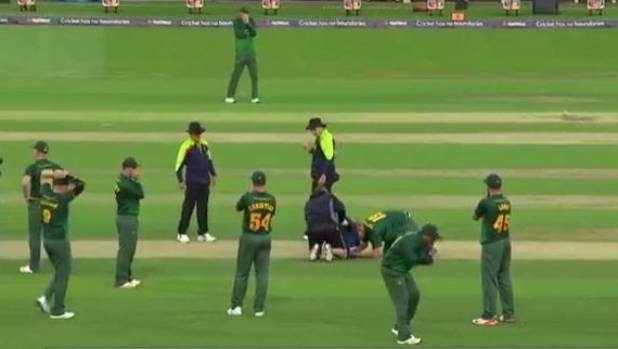 Bowler taken out by lethal straight drive in English T20 tournament