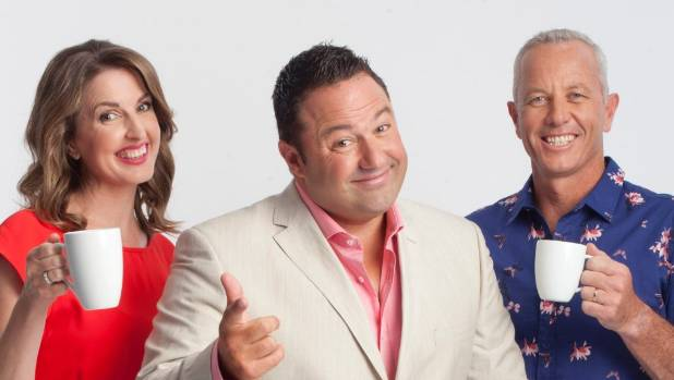 Amanda Gillies with her The AM Show colleagues Duncan Garner and Mark Richardson.