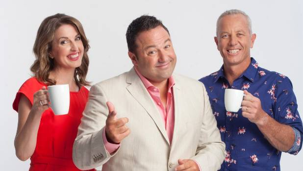 All smiles for The AM Show team - Amanda Gillies, Duncan Garner and Mark Richardson.