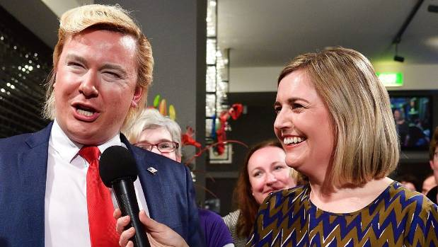 Alexander Sparrow as Donald Trump with Bank Benches co-host Charlotte Ryan.