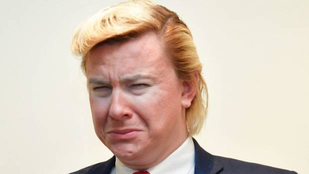 Wellington's Donald Trump impersonator Alexander Sparrow as the United States' President.