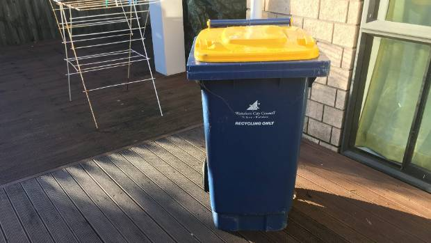West Auckland's old 140-litre recycling bin, with a blue body and yellow lid, will make a come back on the kerb out west ...