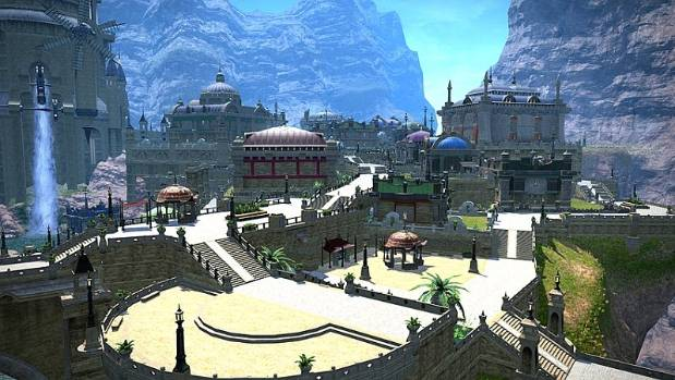 Some of the fantasy building in the Final Fantasy game.