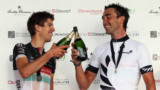 George Bennett and winner Hayden Roulston celebrate together on the podium after their one-two finish at the Elite Road ...