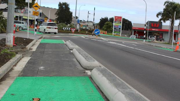 The Future Streets cycle path and the controversial concrete barriers.