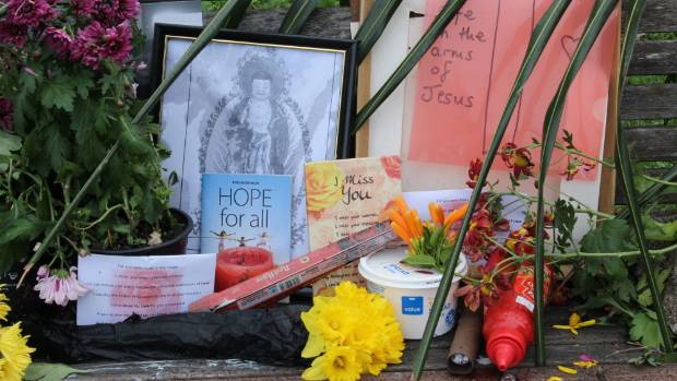 An outpouring of love and messages have been placed on his bench including table spread, flowers and tomato sauce.