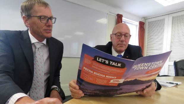 Queenstown Lakes District Council chief executive Mike Theelen and mayor Jim Boult peruse council literature.