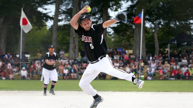 Black Sox pitcher Josh Pettett throwing in the Challenge Cup tournament final at Auckland's Rosedale Park. Softball NZ ...