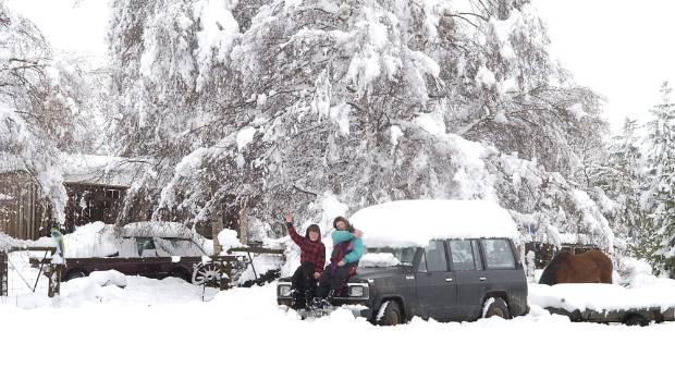 Snow at Burke's Pass, near Tekapo, in 2003.