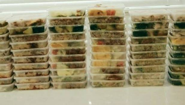 The meals lined up for freezing. Kathrine Lynch thinks they will last around three weeks.