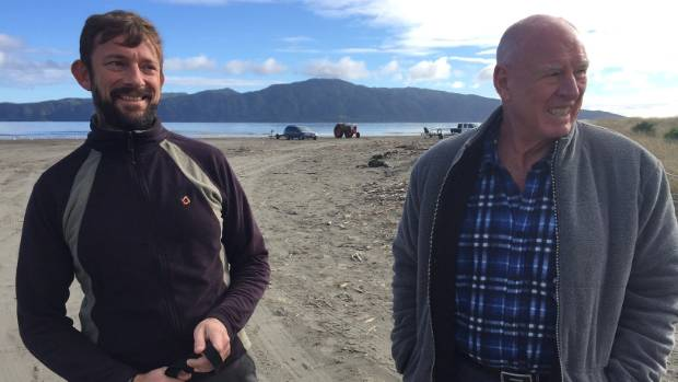 Guardians of Kapiti Marine Reserve chairman Ben Knight, left, and trustee Steve Anderton on Paraparaumu Beach.