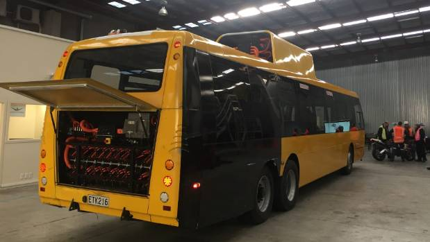 Greater Wellington regional councillors tested out the first Wrightspeed electric hybrid prototype at NZ Bus' Newlands ...