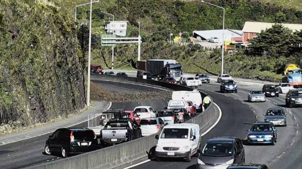 Traffic is backed up in the Ngauranga Gorge following a slip.