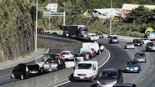 Traffic backed up in Ngauranga Gorge following the slip.