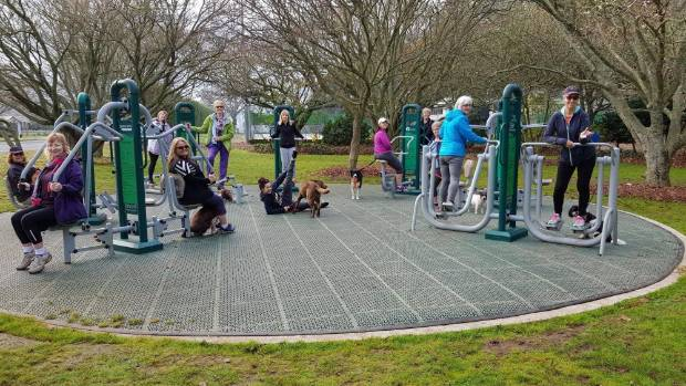 The women take advantage of exercise equipment in public spaces in Cambridge.