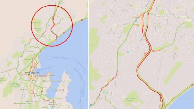 A Google map showing the location of the gorge, circled at left, and the backlog of traffic caused by the slip at right.