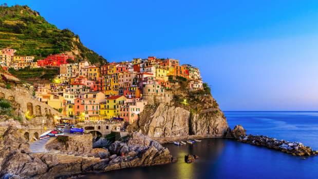 The fishing village of  Manarola in Cinque Terre, Italy.