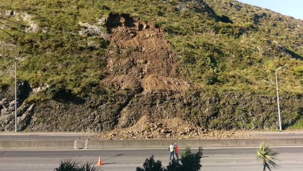 A close-up view of the slip in the Ngauranga Gorge.