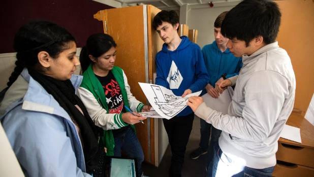 Arsheen Hasolkar, 16, Shayenne Galiste, 17, Julz Baldwin, 17, Tomais Williamson, 17,  and Andrew Ting, 17, compare their ...