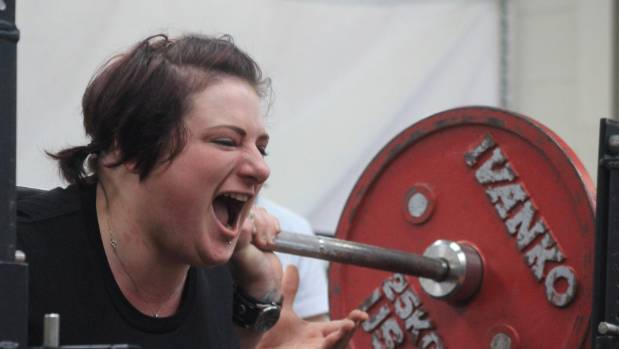 Lizzie Bracken in action at a recent amateur powerlifting event in Christchurch