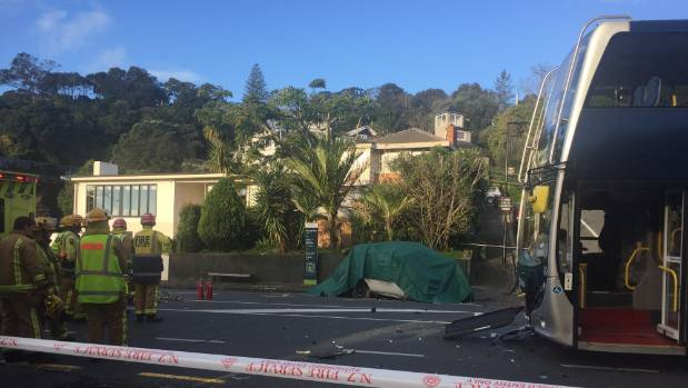 Driver killed, children injured in auto, bus crash