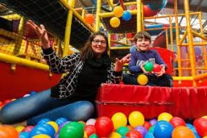 Kids Party Expo convenor Emma Anderson with her son Roman Anderson, 5, in the ball pit at Lollipops Playland, one of the ...