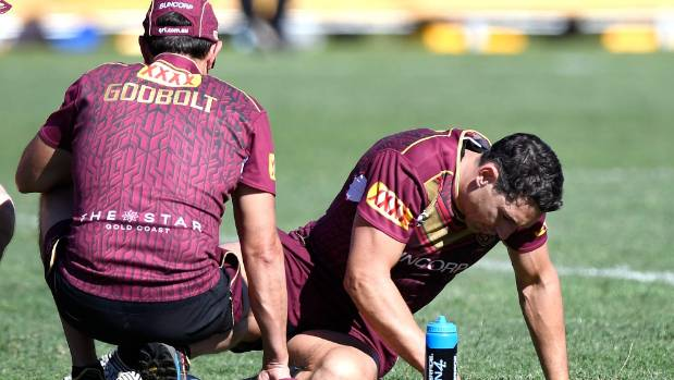 Billy Slater put a scare in the Maroons' camp when he went down with an ankle injury at training on Sunday.