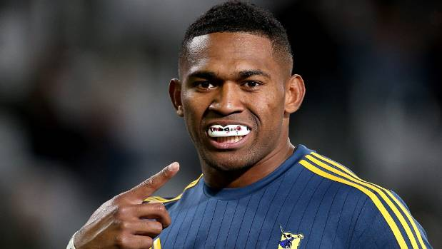Waisake Naholo mobbed by joyous teammates after extending stay with Highlanders