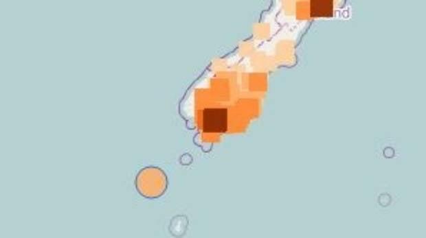 The earthquake was 34 kilometres deep, 190 km south-west of Snare's Island.